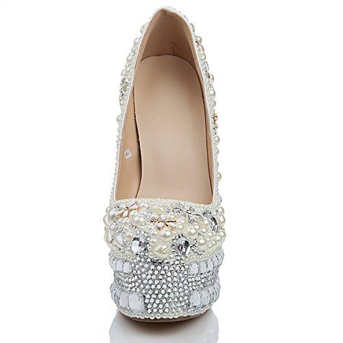 Glitter Spring Pu yc Tacón Zapatos Evening Rhinestone Head Round L Alto amp; Mujer White De nPYqR1w1pZ
