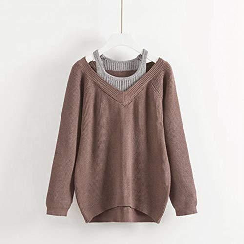 Knit Top Donna Maniche Sikesong Confortevole Casual Autunno Maglia Lunghe Nuova Abbigliamento Marrone Camicia A qxPZ7x