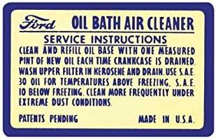 MACs Auto Parts 47-47540 Heavy Duty Oil Bath Air Cleaner Decal Truck