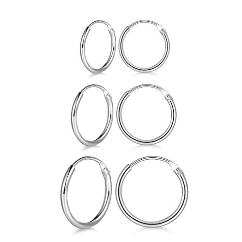 3 Pairs Sterling Silver Small Hoop Earrings Set Hypoallergenic Endless Cartilage Earrings Huggie Nose Lip Rings for Women Men Girls, 8mm 10mm 12mm (8/10/12mm) ()