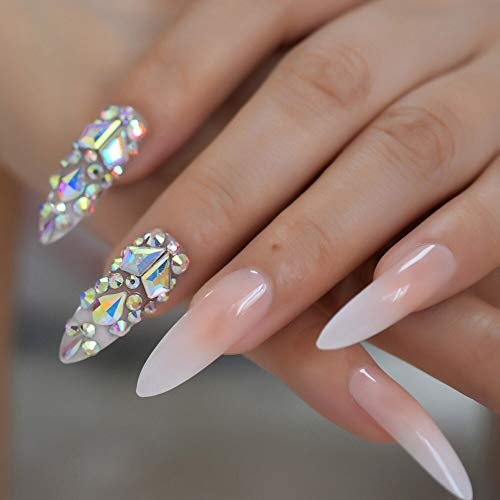CoolNail Luxury 3D AB Gems Gradient Pink Nude Press on Nails Baby Ombre Extra Long Stiletto False Fake Nail Tips Pointed Fingers Nails