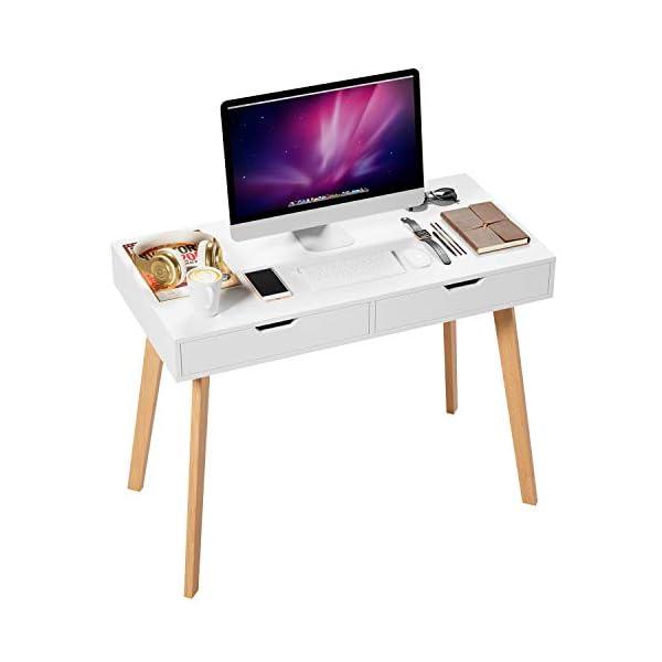 Homfa Bureau d'Ordinateur Table Informatique Meuble de Bureau avec 2 Tiroirs en Bois Jambes de Chêne 100×50×77cm Blanc