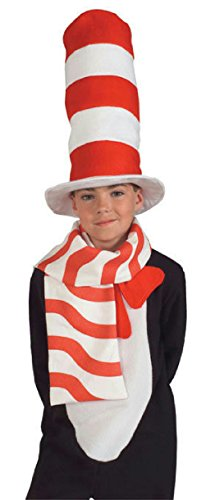 Child Cat in the Hat Scarf Candy Cane Red and White (Cat In The Hat Costum)