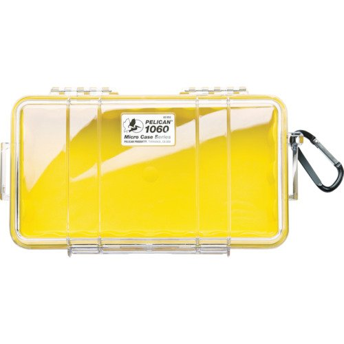 100 Yellow Small Case - Waterproof Case | Pelican 1060 Micro Case - for iPhone, Cell Phone, GoPro, Camera, and More (Yellow/Clear)