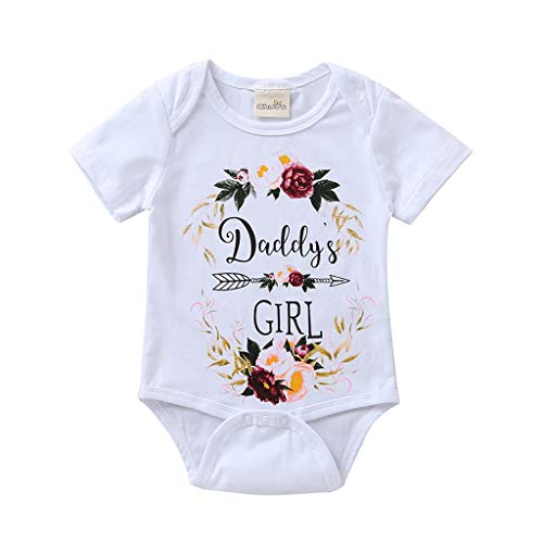 WOCACHI Unisex Baby Romper, Newborn Infant Baby Daddy's Girl Letter Floral Romper Bodysuits Clothes]()