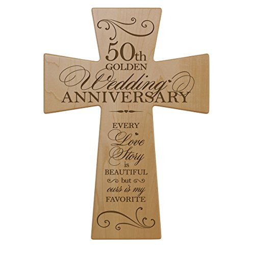 50th Wedding Anniversary Maple Wood Wall Cross Gift for Couple, 50 year Anniversary Gifts for Her, Fiftieth Wedding Anniversary Gifts for Him (7x11)