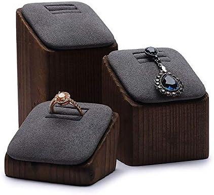 ジュエリーツリースタンド 3木製のリングジュエリーショーケースのパケット数は、代表トップラック婚約や結婚指輪を示し ハンギングイヤリングネックレスブレスレットリング (色 : ブラック, サイズ : Free)
