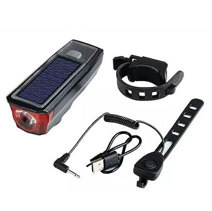 RSGK Bicicleta Luz Linterna Solar USB Carga Montaña Bicicleta Noche Cabalgar Deslumbramiento Lluvia Campana Cuerno Lámpara