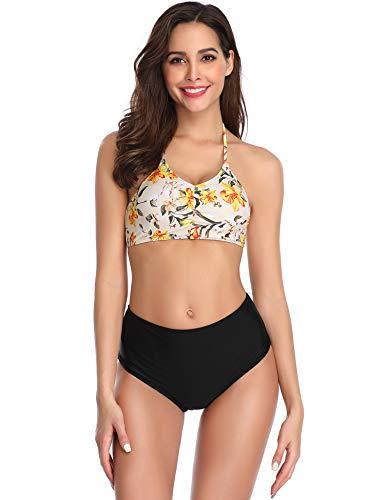 - LALAVAVA Womens High Waisted Bikini Set Halter Floral Print Two Piece Swimsuits (Yellow, XXL)