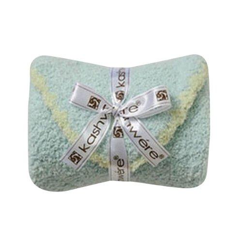 Kashwere Baby Set: Blanket & Cap - Aqua w/Green (Kashwere Infant Blankets)