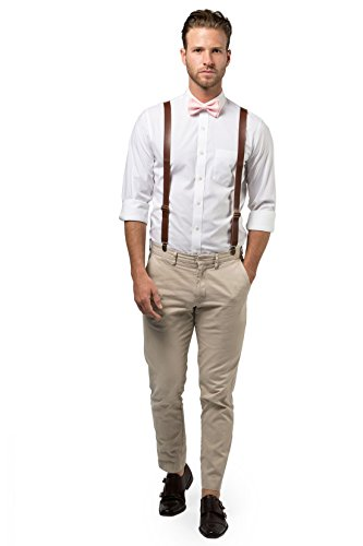 Brown PU Leather Suspenders and Bow Tie Combo (Adult (5'7