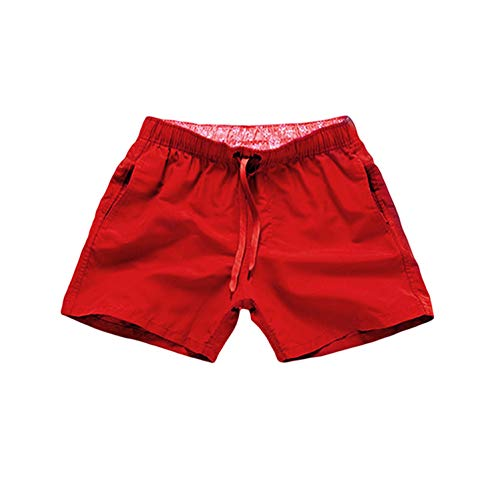 Quick Dry Casual Shorts for Men Man Beach Shorts Men's Summer Shorts with Pockets Fitness Exercise Lace up Shorts,red,L (Small Case For Small Items Crossword Clue)
