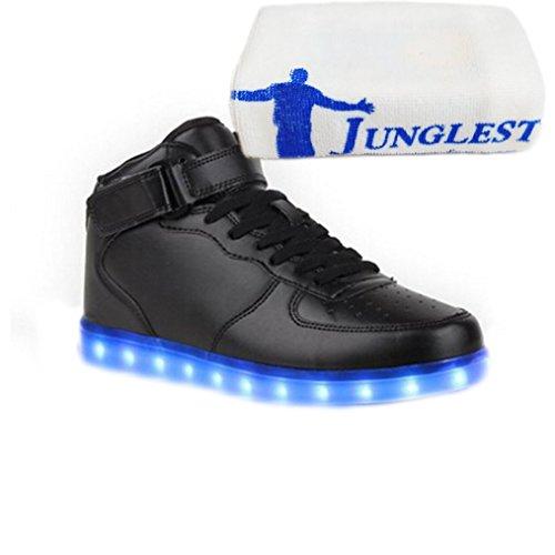 [Present:kleines Handtuch]JUNGLEST 7 Farbe USB Aufladen LED Leuchtend Sport Schuhe Sportschuhe Sneaker Turnschuhe für Unise High Top mit Velcro Schwarz