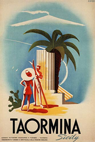 Taormina Sicily Retro Travel Poster 12x18 inch