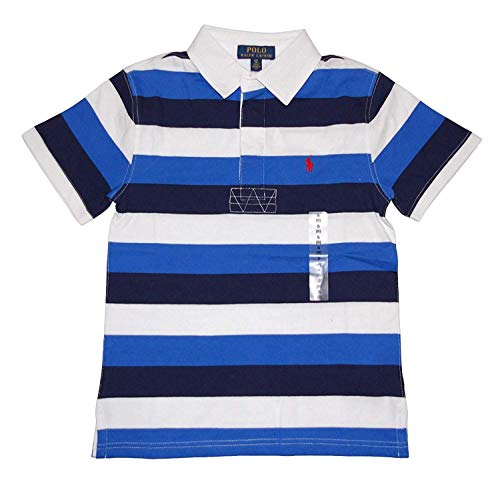 (Ralph Lauren Polo Boys Short Sleeve Striped Rugby Shirt (Medium 10-12))