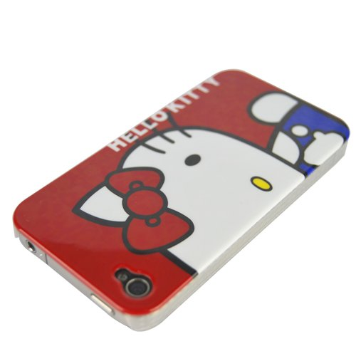 Hello Kitty & Telephone Stick Skin Hard Case Cover for iPhone 4 Rot