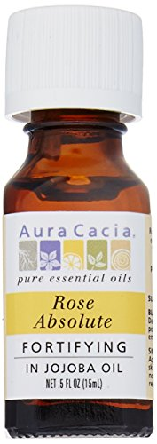 Aura Cacia Essential Oil Rose Absolute With Jojoba .5 Oz