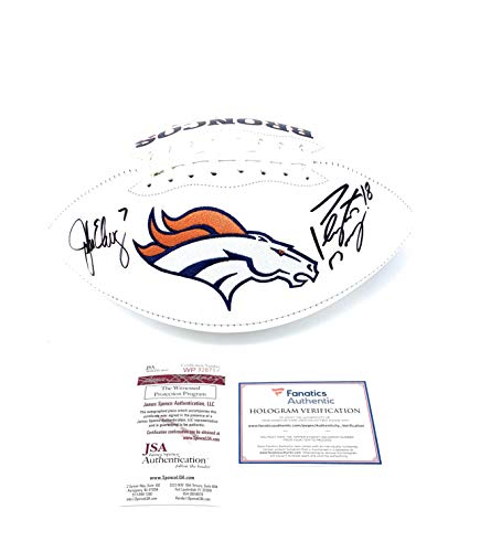 Peyton Manning John Elway Denver Broncos DUAL Signed Autograph Embroidered Logo Football JSA Witnessed Certified Fanatics Authentic ()