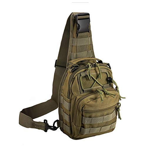 Tactical Shoulder Bag,1000D Outdoor Military Molle Sling Backpack Sport Chest Pack Daypack Bags for Camping, Hiking, Trekking, Rover Sling (Green)