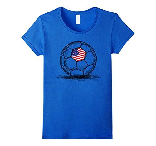 Womens US USA America Flag on Soccer Ball Football Jersey T-Shirt Small Royal Blue