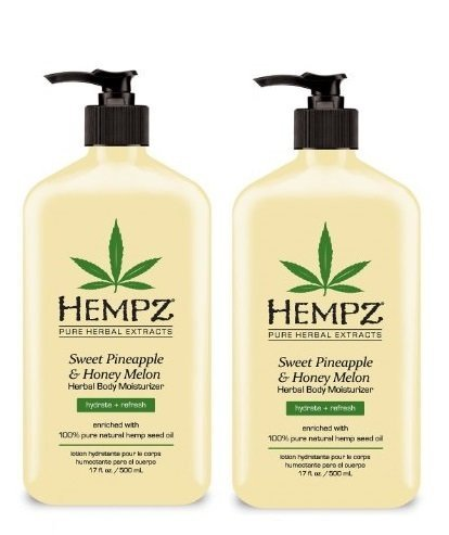 Hempz Sweet Pineapple and Honey Melon Herbal Body Moisturizer, 17 Ounce (Pack of 2)