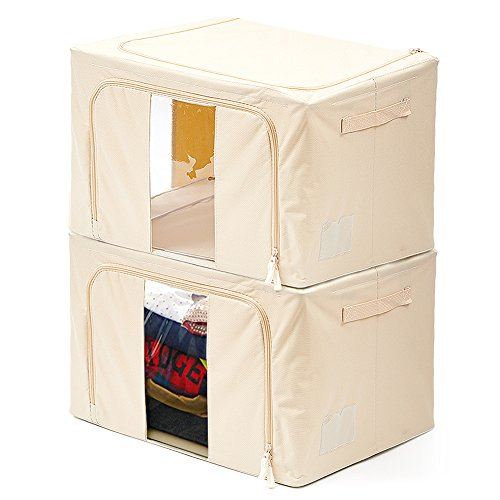 Large Foldable Box (2 Pack Storage Bins Boxes EZOWare Foldable Container Organizer Basket with See-through Window - Extra Large / Beige For Under bed Storage, Closet ,Linens, Bedding Blanket, Sheets Pillows, Quilt)