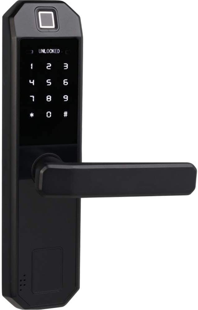 Fingerprint Door Lock, Digital Biometric Door Lock Touchscreen Keypad Keyless Smart Lock Electronic Entry Lock with Reversible Lever and Automatic Locking for Wood Door Office Home Door Black