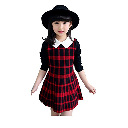 ftsucq-girls-checks-square-collar-long-sleeve-sweater-dressred-140