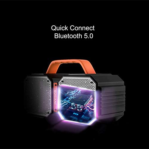 BUGANI Bluetooth Speaker, M83 40W Bluetooth 5.0 Waterproof Wireless Portable Outdoor Speaker, Wireless Stereo Pairing, Rich Bass, 2400 Minutes Playtime, Power Bank, Suitable for Party, Camping, Gym