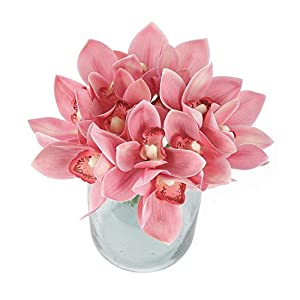 Blooming Paradise 2pcs Cymbidium Artificial Butterfly Orchid Silk Flower Home Wedding Phalaenopsis Bouquet Decor Light Pink
