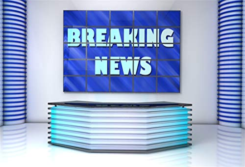Yeele 5x3ft Photography Background Breaking News TV Studio Interior Television Room Screen Camcorder Media Broadcast Monitor Global News Anchor Interview Photo Shoot Props Newsman Journalism ()