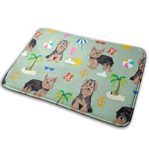 shirt home Yorkie Yorkshire Terrier Summer Beach Design Cute Dog - Mint_27861 Doormat Entrance Mat Floor Mat Rug Indoor/Outdoor/Front Door/Bathroom Mats Rubber Non Slip 23.6