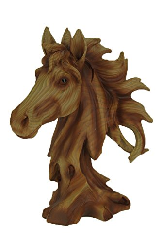 Horse Head Bust Faux Carved Wood Look Figurine Resin 11 Inch High ()