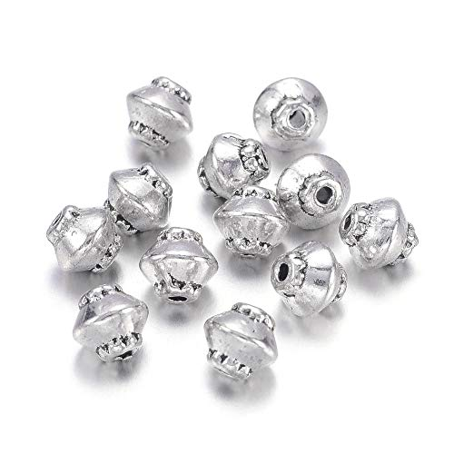 Kissitty 100-Piece Tibetan Antique Silver Bicone Spacer Beads 5mm Diameter Lead Free & Nickel Free & Cadmium Free Metal Saucer Beads with 1mm Hole