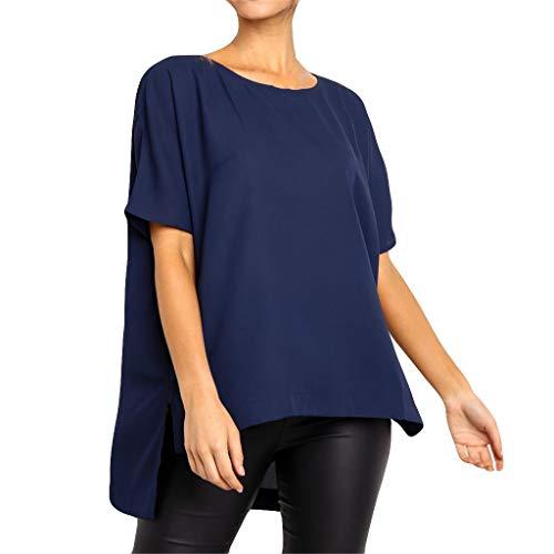 - Opinionated Womens Shirts O Neck Irregular Short Sleeve Casual Tunic Tops Casual Loose Blouse T-Shirt Navy