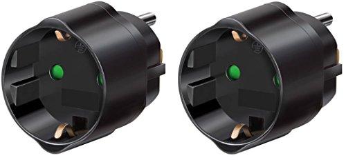2 Stück Brennenstuhl Reisestecker/-adapter Schutzkontakt für USA, Japan schwarz, 1508550