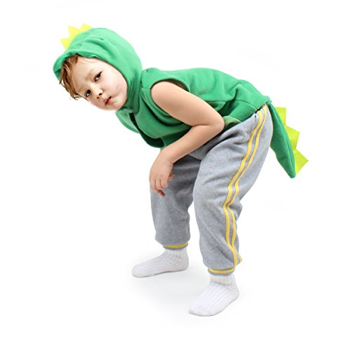 (fedio Kid's Dinosaur Costume Cosplay Dino Animal Dress up for Toddler Children (Ages 3-6,Green))