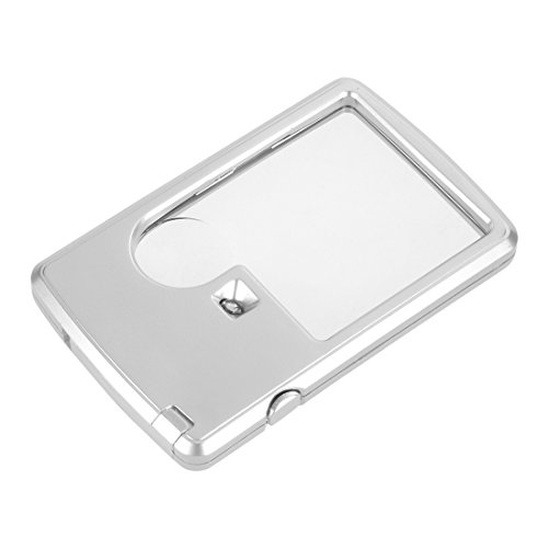 uxcell 3 X 6X Credit Card Style Dual Lens Magnifier w LED Illumination Pocket Magnifying Glass ()