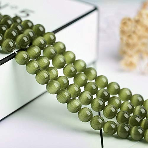 (Calvas 4/6/8/10/12mm Round String Opal Loose Glass Cat Eye Beads for Making Jewellery Designs DIY Stone Beads - (Color: Army Green, Item Diameter: 6mm Approx 65pcs))