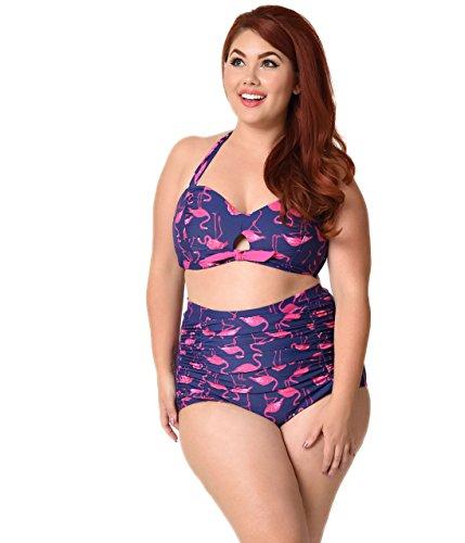 5454e4bab6072 Unique Vintage Plus Size Mrs. West Navy   Pink Flamingo Halter Swim Top