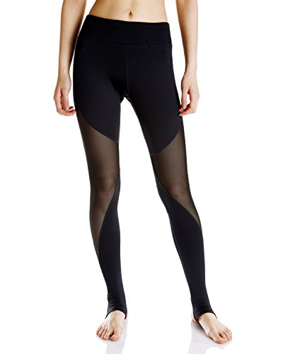LUXJA Mesh Yoga Leggings/Stirrup Leggings/Gym Pants with inner pocket, Black (Inner Mesh Pockets)
