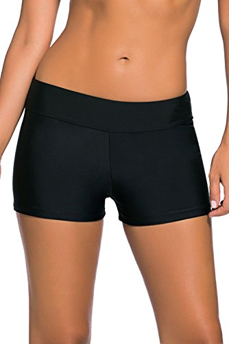 QUEENIE VISCONTI Women Swim Boy Shorts Waistband Boardshorts Swimsuits Pants Black M