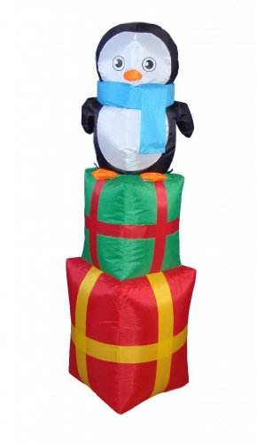 4 Foot Christmas Inflatable Penguin on Gift Box 2013 Yard Decoration