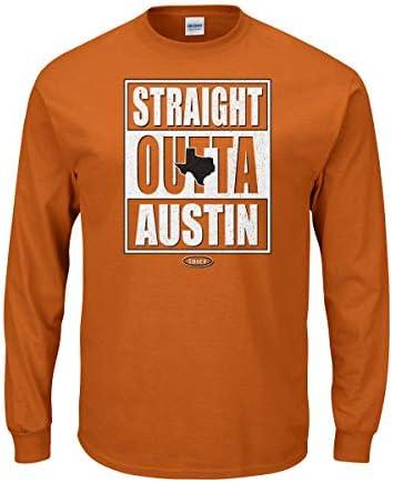 Sm-5x Straight Outta Austin Burnt Orange T-Shirt Smack Apparel Texas Football Fans