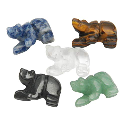 - Fundamental Rockhound Products: 5 (Five) Hand Carved Bear Beads Mixed Stones Real Gemstone Crystals