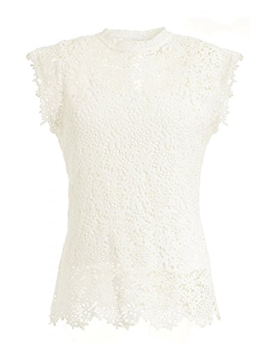 - Velvet by Graham and Spencer Women's Lace Cap Sleeve top M White