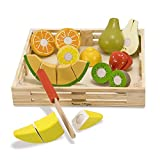 Melissa & Doug Cutting Fruit Set, Wooden Play Food, Attractive Wooden Crate, Introduces Part and Whole Concepts, 17-Piece Set, 6.985 cm H × 22.86 cm W × 22.86 cm L