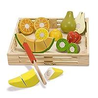 Melissa & Doug Cutting Fruit Set, Juego de madera para alimentos, Atractivo cajón de madera, Presenta conceptos completos y parciales, Juego de 17 piezas, 2.75 ″ H × 9 ″ An × 9 ″ L