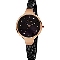 Women's Bracelet Watch, Ladies Watches - Simple Analog Mesh Steel Band Luxury Wrist Watch, Black Gold
