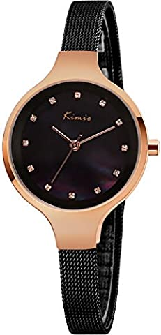 Women's Fashion Watch Ladies Watches - VOEONS Simple Analog Black Mesh Stainless Steel Band Luxury Fashion Bracelet Wrist Watch, Black Gold, 2-Year Quality (Water Proof Watches Ladies)